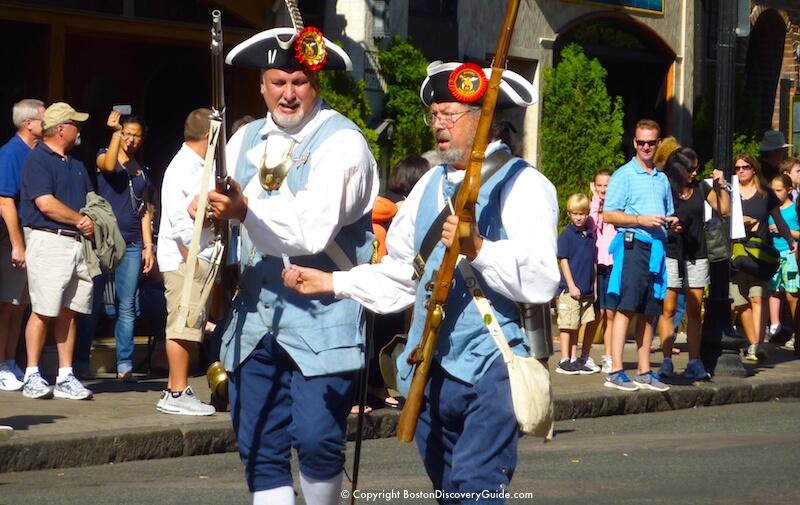 Colonial militia reenactors in Boston Columbus Day Parade