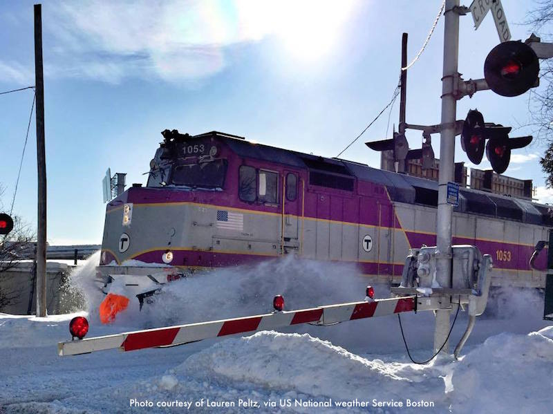 The commuter rail, in the aftermath of a blizzard