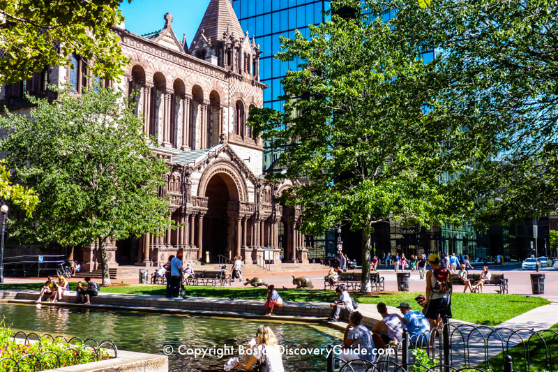 Reflecting pool in Copley Square near Trinity Church and the Hancock Tower