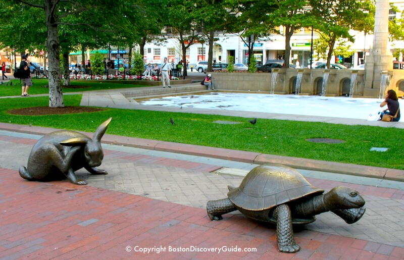 Tortoise and Hare sculptures in Copley Square