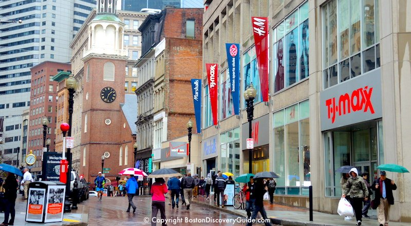 Boston's Downtown Crossing shopping district on a rainy November day