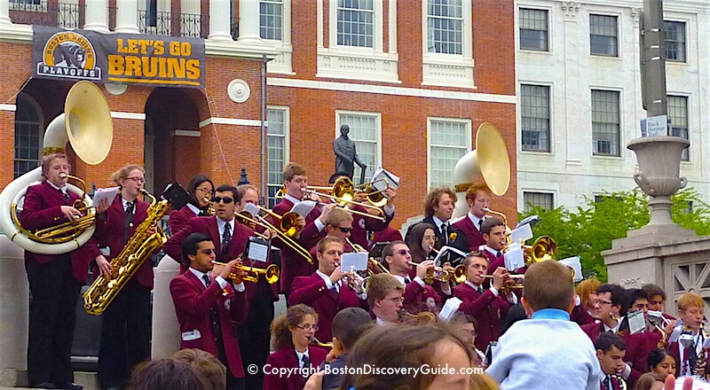 Duckling Day Parade - Harvard Brass Band leads the march