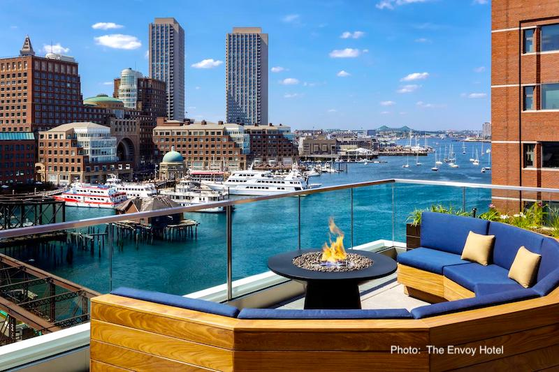 The Envoy's Rooftop Bar overlooking Boston Harbor