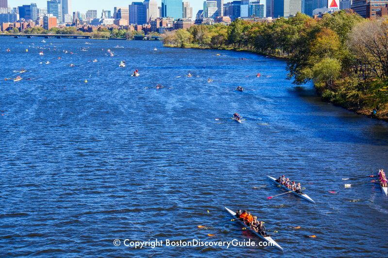 Rowers in Head of Charles Regatta, with Esplanade and Downtown Boston in the background