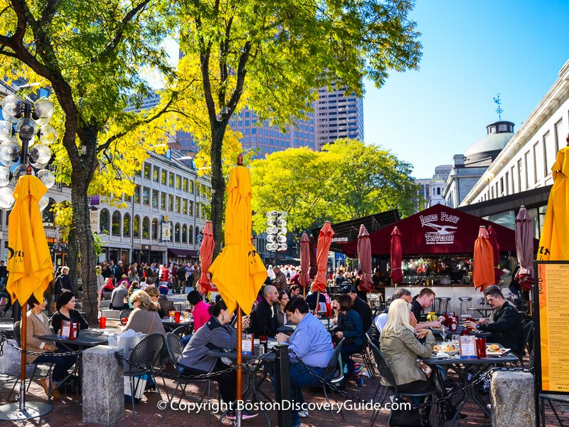 Outdoor dining at Ned Devine's Irish pub in Faneuil Marketplace
