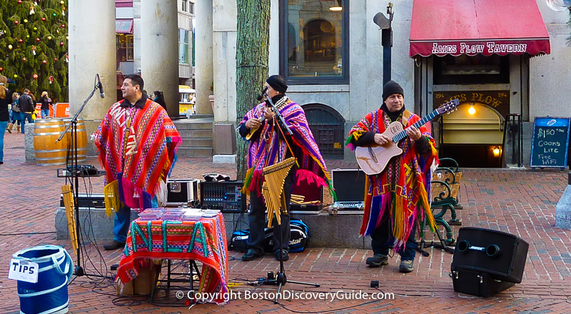 Street performers playing music in Faneuil Hall Marketplace
