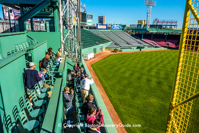 Looking down from the seats on top of the Green Monster