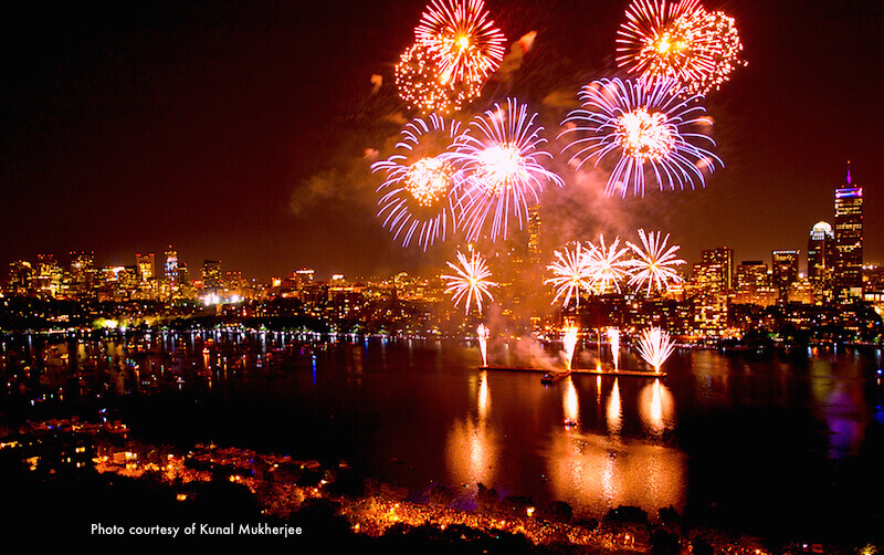 Boston fireworks in the Charles River next to the Esplanade - photo credit Kunal Mukherjee