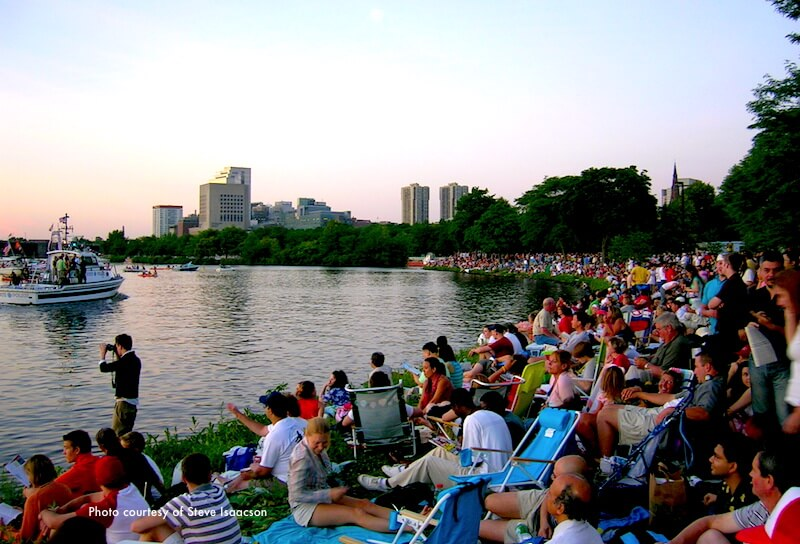 Waiting to Boston fireworks from the Charles River Esplanade; photo courtesy of Steve Isaacson