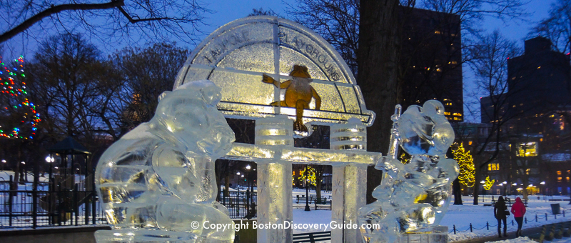 New Year's Eve ice sculpture depicting Tadpole Playground on Boston Common