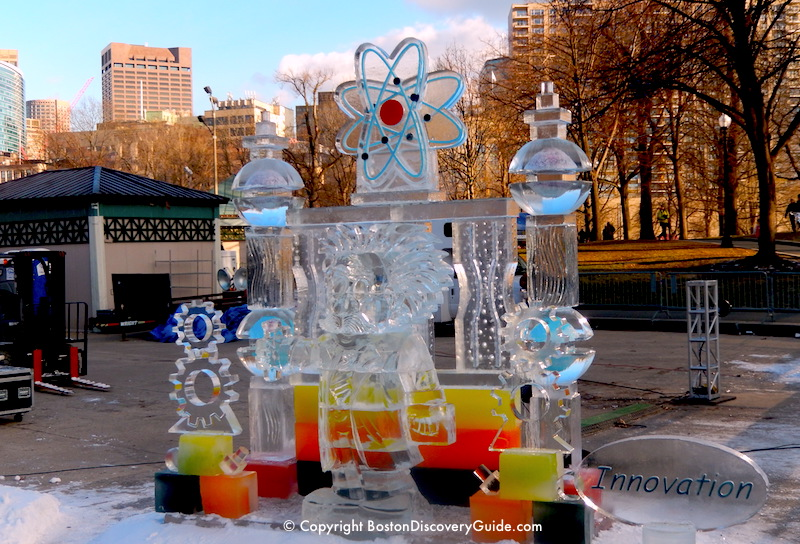 Ice sculpture for the First Night festivities in Boston Common