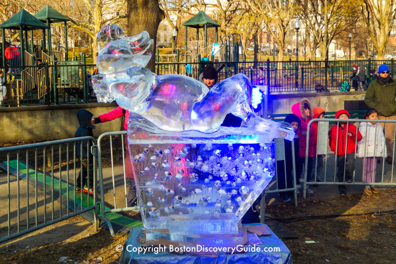 First Night ice sculpture near Tadpole Playground and Frog Pond on Boston Common