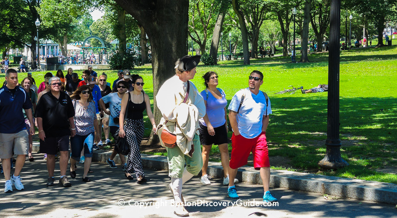 Freedom Trail tour with costumed guide walking across Boston Common