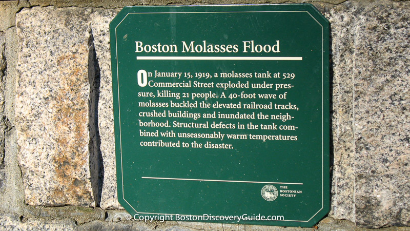 Great Molasses Flood marker in Puopolo Park in Boston's North End