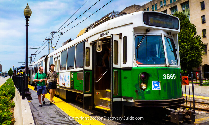 The T's Green Line, across the street from Boston University