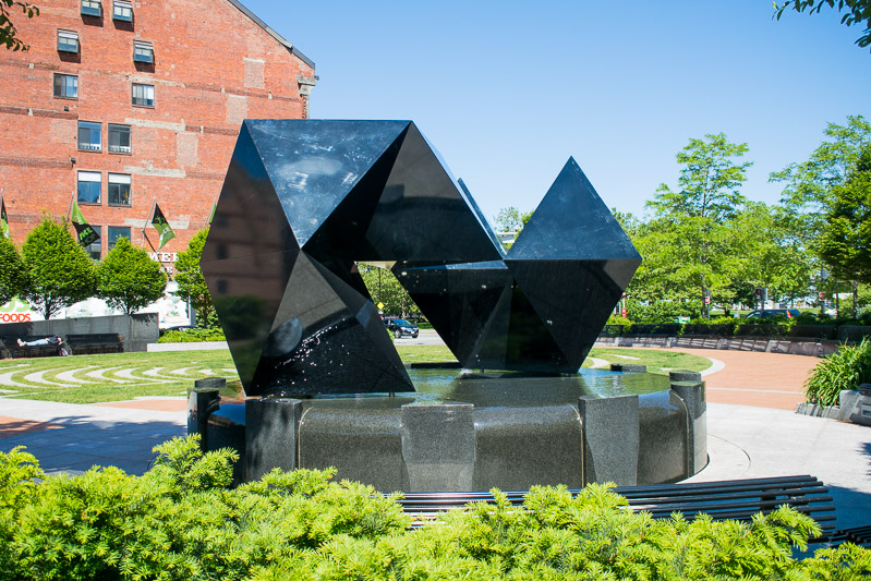 Sculpture and fountain in the Armenian Heritage Park in Boston's Greenway