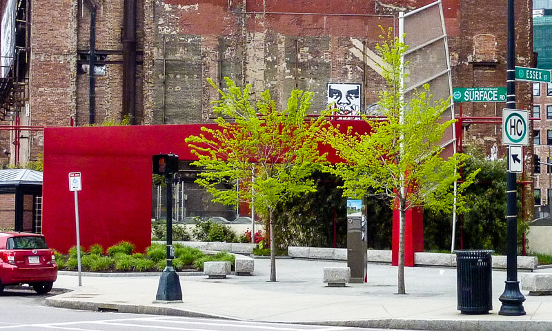 Red Chinatown Gate marks the entrance to the Greenway's Chinatown Park at Essex Street