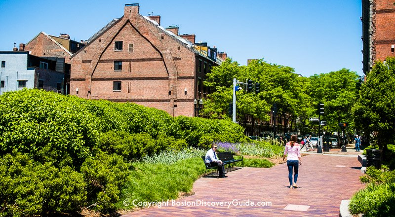 Boston's Greenway attraction:  Path through the North End Parks