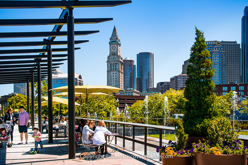 View of downtown Boston from under the pergola in the Greenway's North End Parks