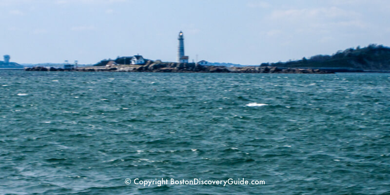 Boston Light on Little Brewster Island, seen during a whale watch cruise