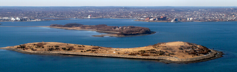 Spectacle Island from the air, with Thompson Island behind it