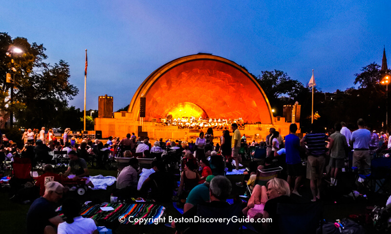 Boston Landmarks Orchestra performing in the Hatch Shell on the Esplanade in August
