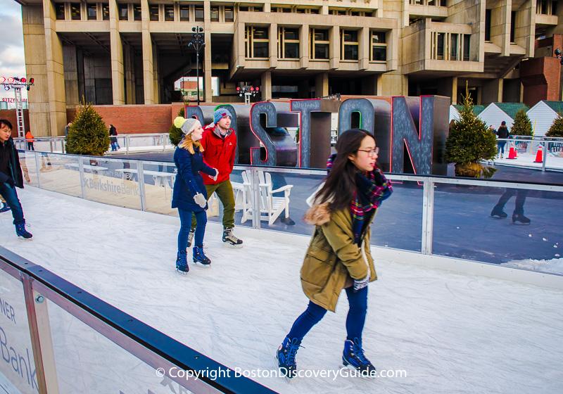 Ice path at Boston's City Hall Plaza