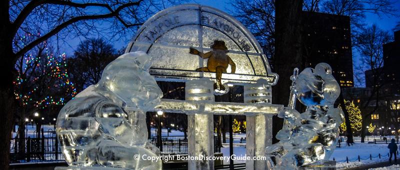 First Night ice sculpture near the Tadpole Playground on Boston Common