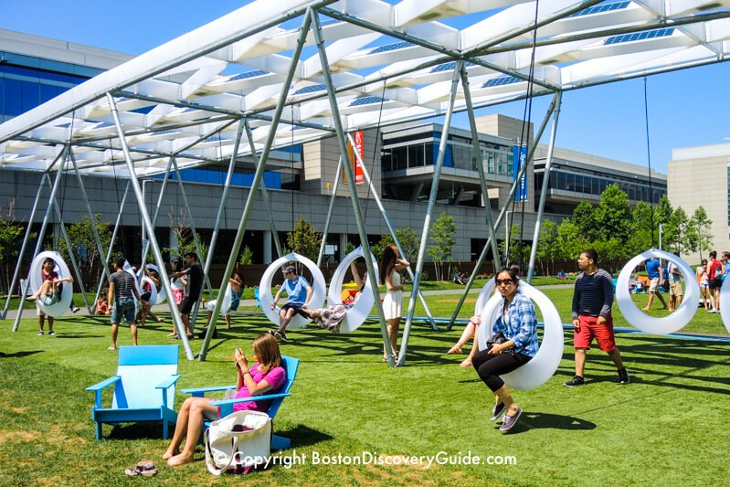 Swings on Lawn on D next to the Boston Convention & Exposition Center