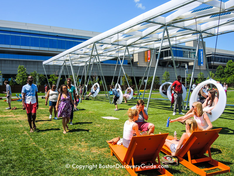 Swings and chairs at Lawn on D next to the Boston Convention Center
