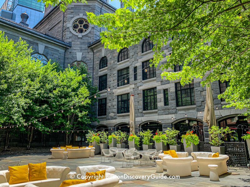 Beacon Hill Boston Hotels - Liberty Hotel -Secluded patio seating outside the Liberty Hotel