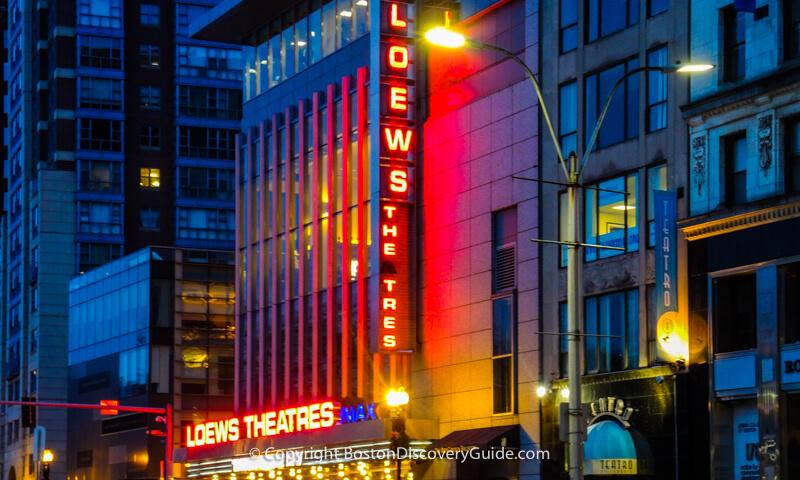 Loews Movie Theatre across the street from Boston Common