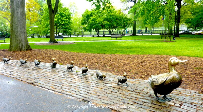 Make Way for Ducklings Statues in Boston's Public Garden