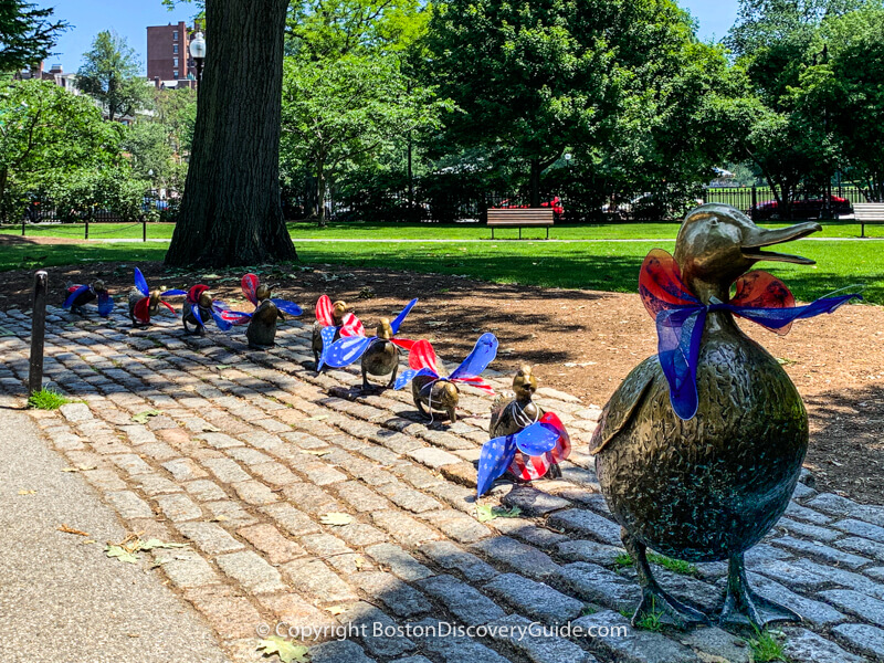 Boston Kids Activities include visiting Make Way for Ducklings statues in Public Garden