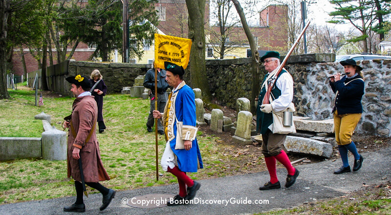 Patriots' Day reenactors portraying the Menotomy Minute Men