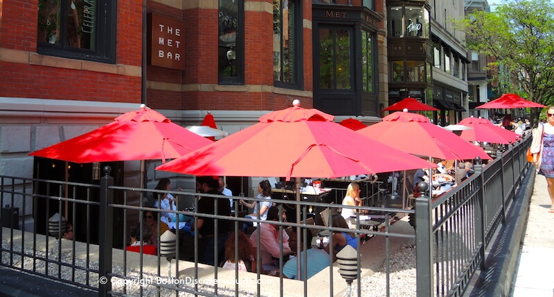 Met Bar's outdoor seating area in Boston's Back Bay