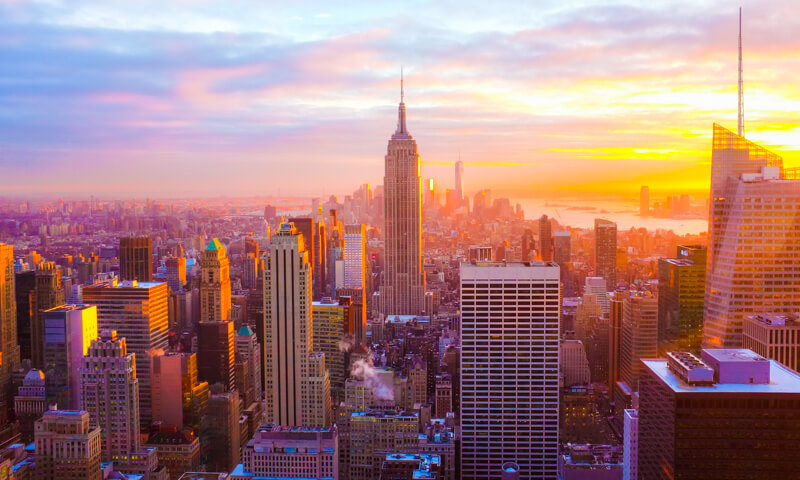 New York City's Manhattan skyline at sunset