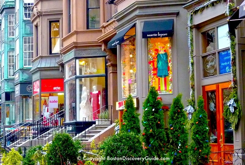 Boutiques and holiday decorations along Boston's Newbury Street
