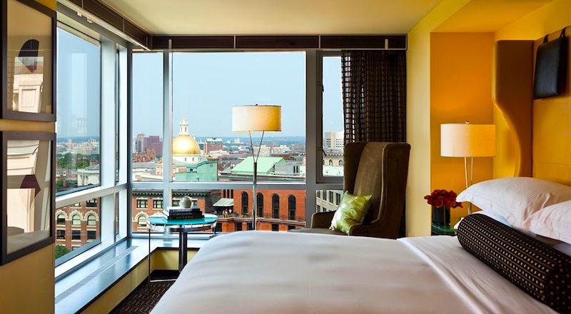 City views from Nine Zero Hotel in Boston