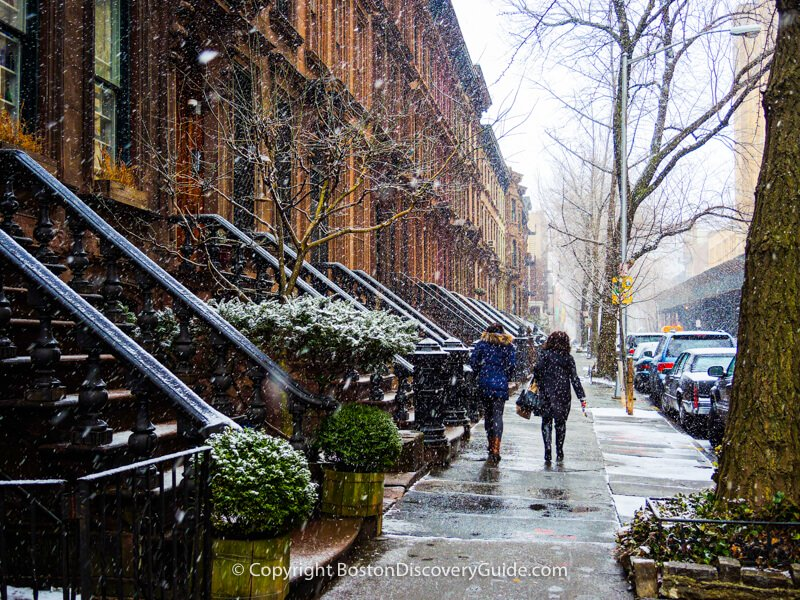 New York brownstones on a snowy March afternoon