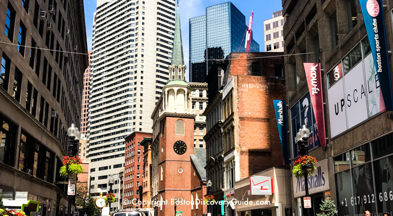 Old South Meeting House, seen from Downtown Crossing area of Washington Street