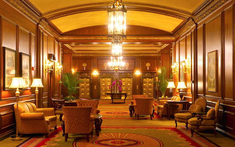 Ornate lobby of historic Omni Parker House Hotel in Boston