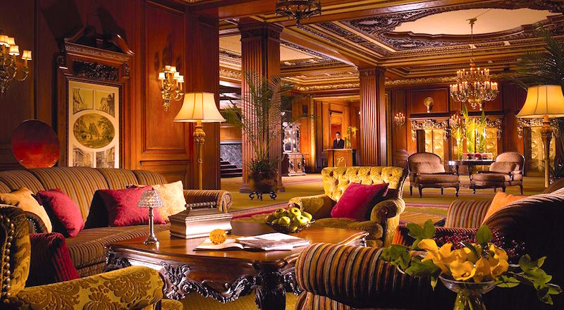 Ornate lobby of historic Omni Parker House Hotel in Boston