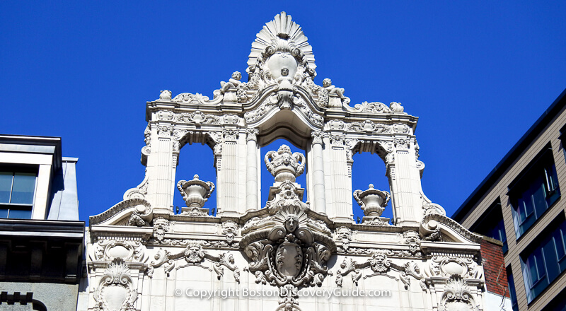 Ornate sculpture at the top of Boston's Opera House