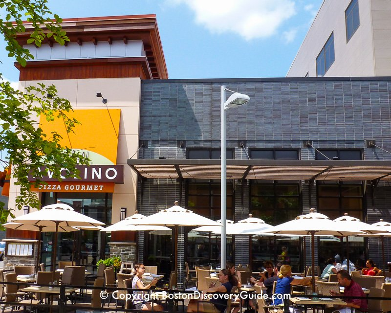 Outdoor dining at Patriot Place, next to Gillette Stadium