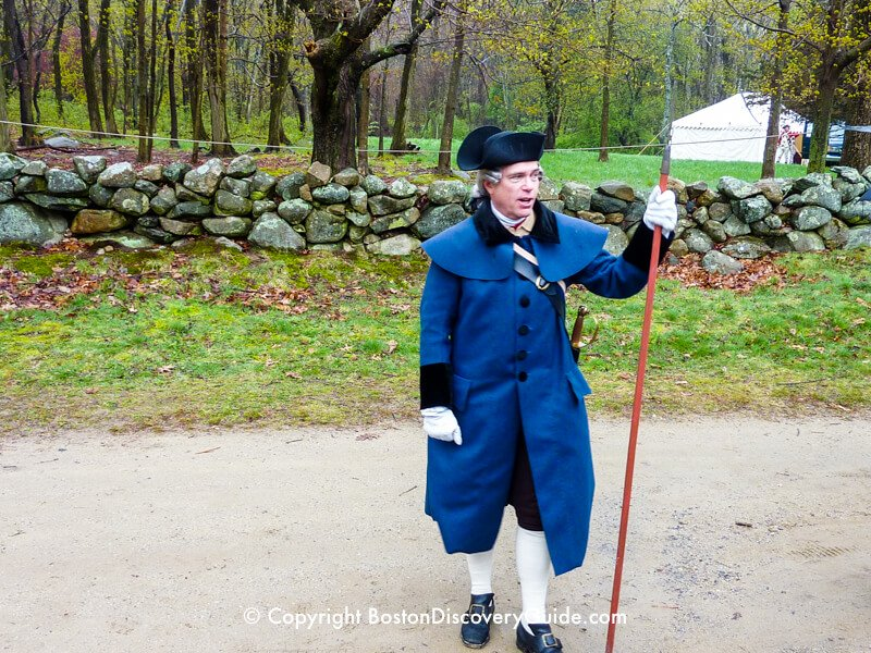 Patriots' Day Reenactor wearing Colonial clothes that he made by hand
