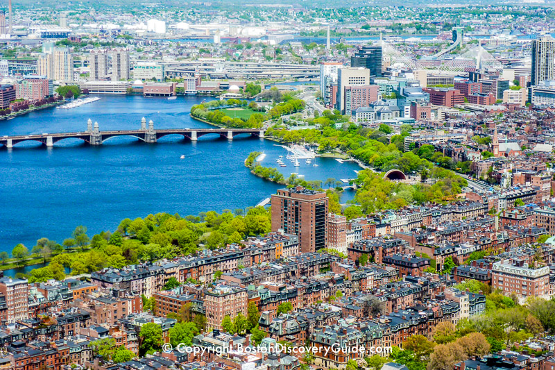 View of Back Bay neighborhood, Esplanade and Hatch Shell, Beacon Hill, Charles River
