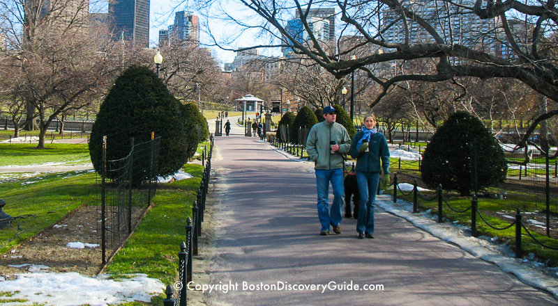 Boston February weather - Public Garden at the end of the month, with melted snow and greening grass