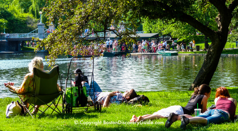 Relaxing by the Lagoon at Boston Public Garden on Memorial Day Weekend