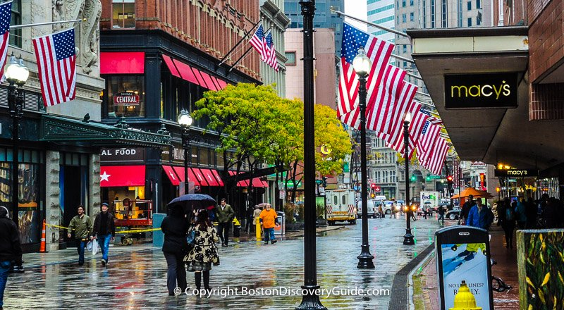 Shopping in Boston's Downtown Crossin in the Rain
